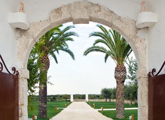 L'ingresso della Masseria Santa Chiara, tra palme e ulivi secolari